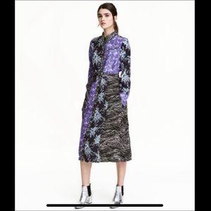 H&M Midi FloralDress shirt with belt Sz 2
